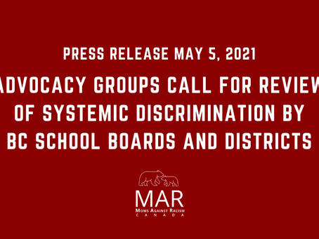 PR: Advocacy Groups Call for Review of Systemic Discrimination by BC School Boards and Districts