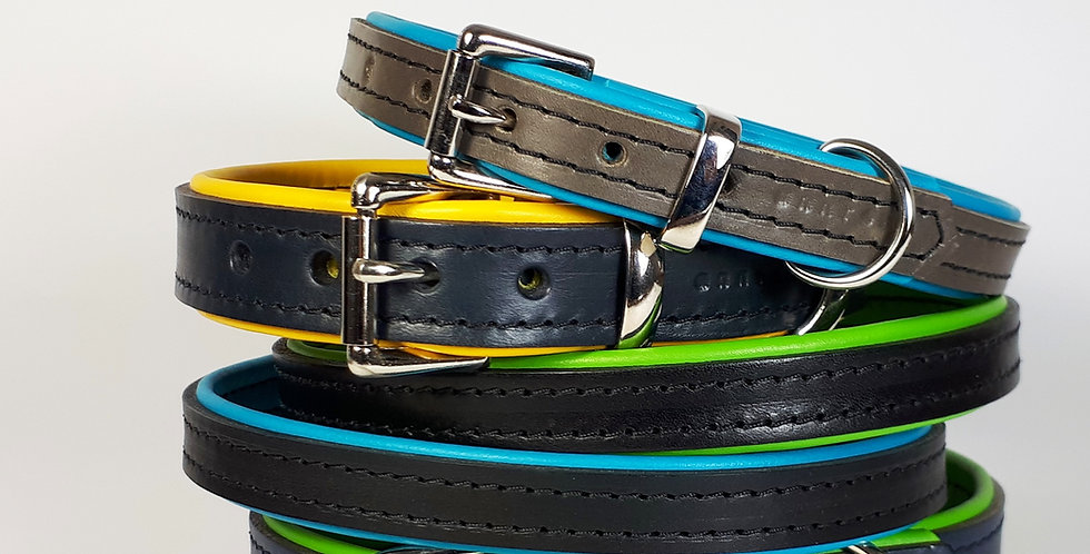 Padded Leather Buckle Collars:  'Urban Vogue' [Big dog]