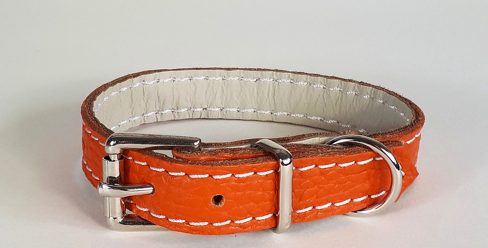 Soft Leather Collar:  Orange 8/9 inch neck