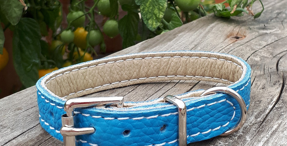 Soft Leather Collar: Sky Blue 9/10 inch neck