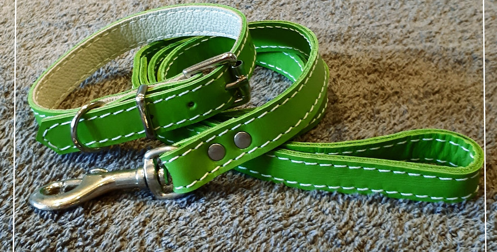 Lime green soft leather set: 10/11 inch neck