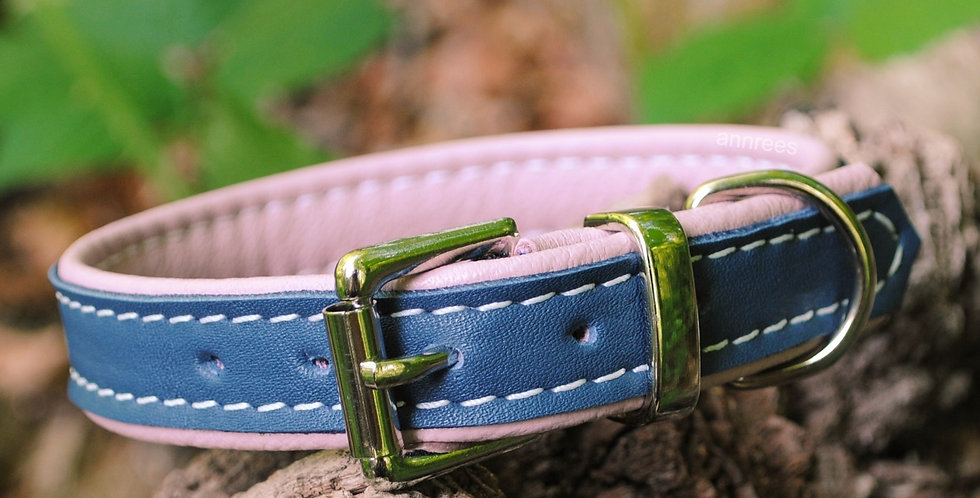 Double Softee Padded Collar: Denim on Blossom Pink