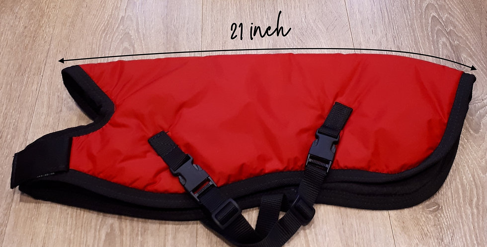 Warm Winter Coat - 21 inch hound.  Red with black edge