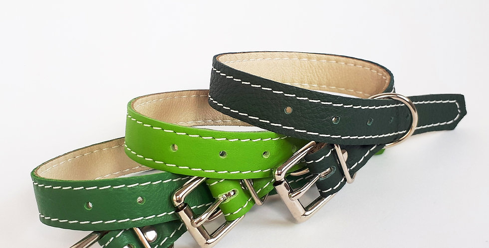 Soft Leather Buckle Collars:  'Gorgeous Greens'