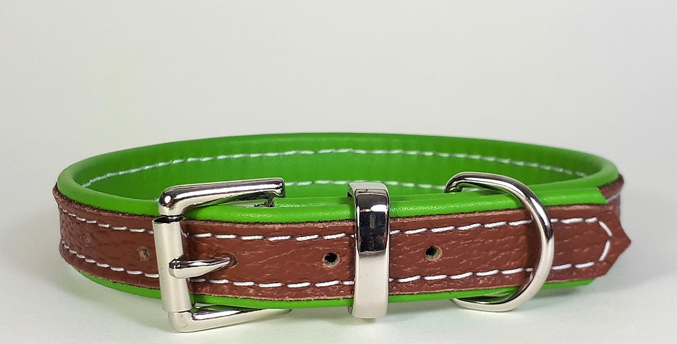 Double Softee Collar: Tan on Lime 13/14 inch neck