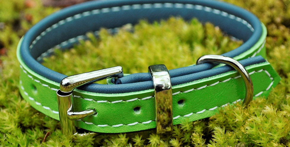 Double Softee Padded Collar: Lime Green on Denim