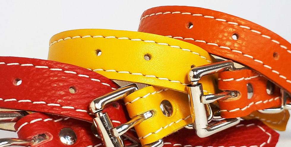 Soft Leather Collar:  Yellow 11 inch neck