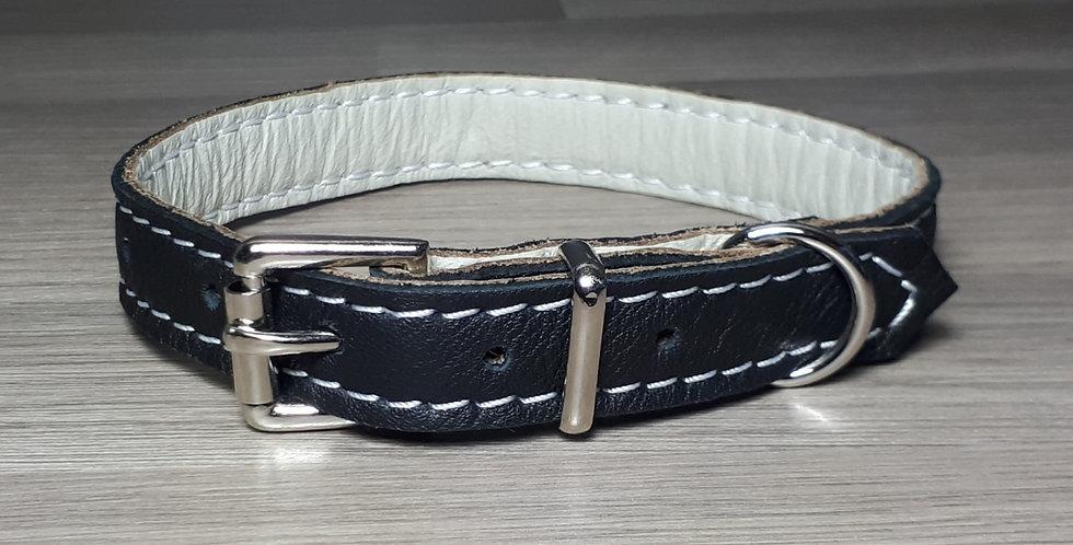 Soft Leather Collar: Black 10/11 inch neck