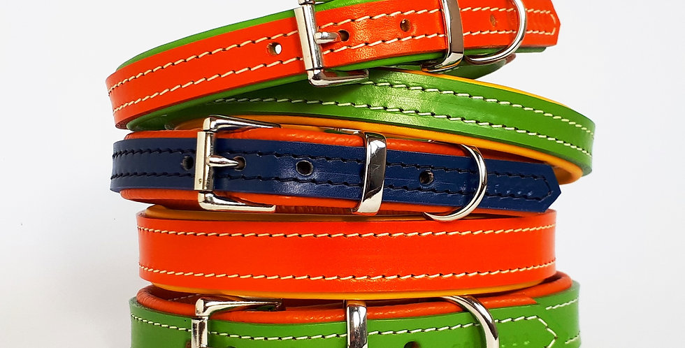 Padded Leather Buckle Collars:  'Metropolitan Funk' [Big dog]