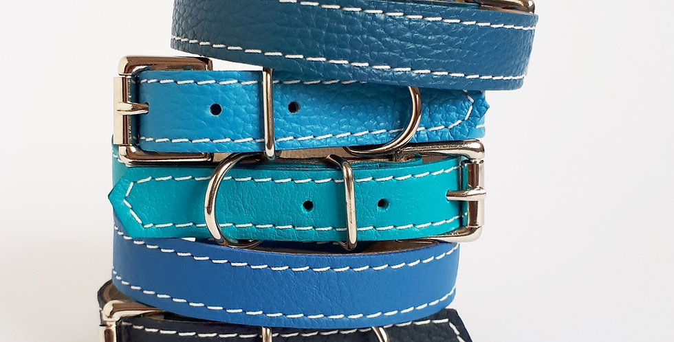 Soft Leather Buckle Collars:  'Brilliant Blues'
