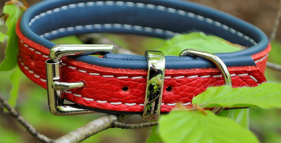 Double Softee Padded Collar: Red on Denim