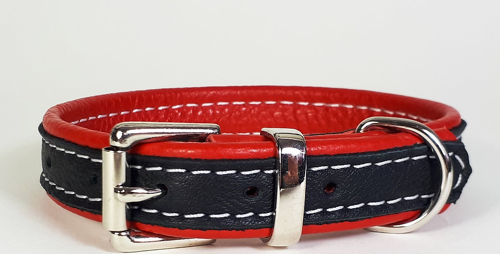Double Softee Padded Collar:Black on Red