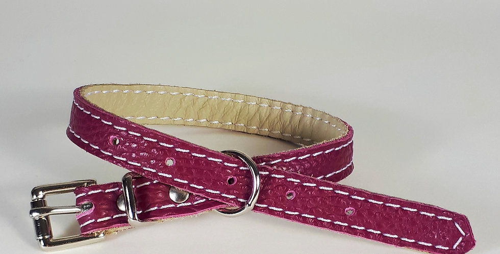 Soft Leather Collar: Mulberry 12/13 inch neck