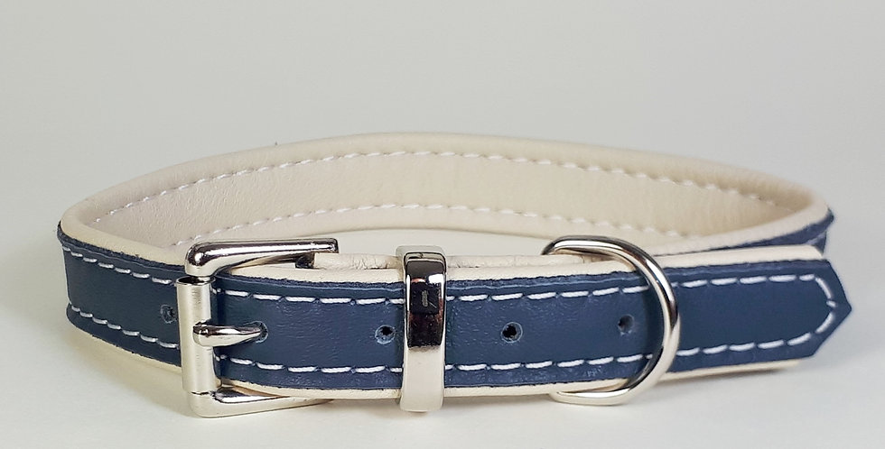 Double Softee Collar: Navy on Cream 14/15 inch neck