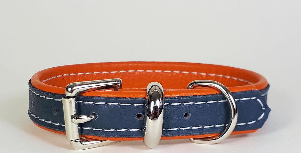 Double Softee Collar: Navy on Orange 11/12 inch neck