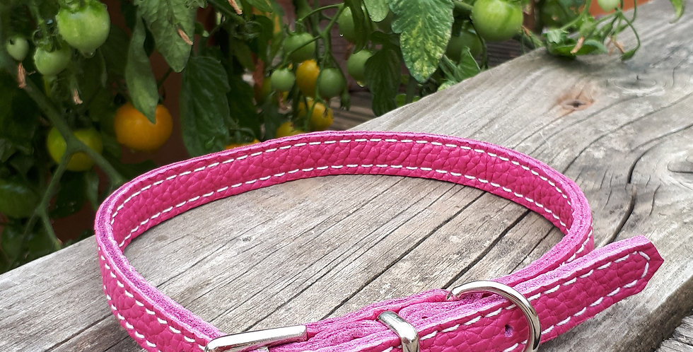 Soft Leather Collar: Rose Pink