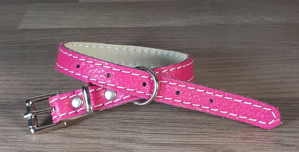 Soft Leather Collar: Rose pink 10/11 inch neck