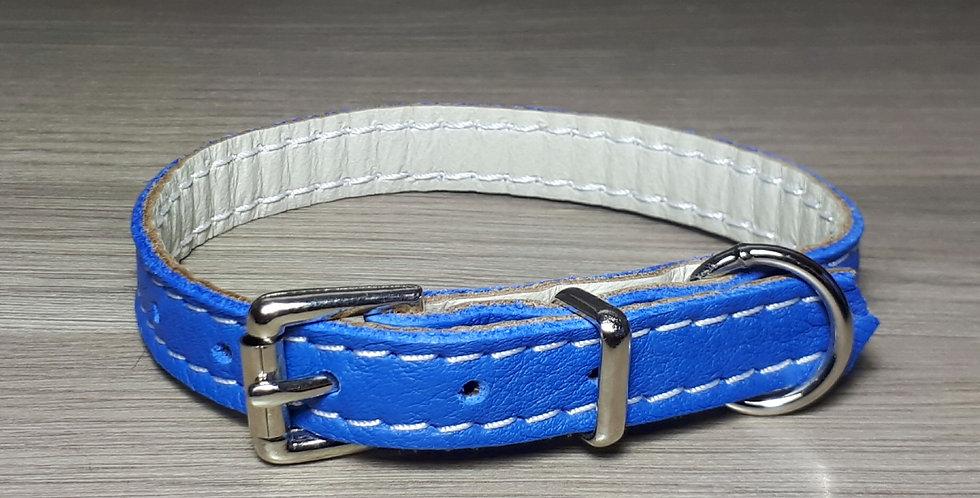 Soft Leather Collar: Cobalt  9/10 inch neck