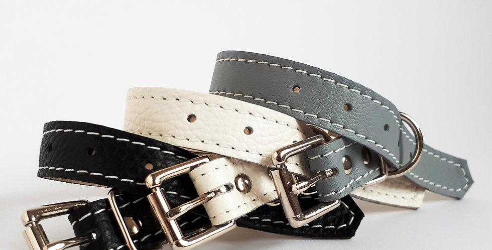Soft Leather Buckle Collars:   'Stylish Monochromes'