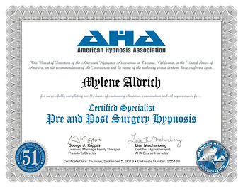 certificate - Pre and Post Surgery Hypno