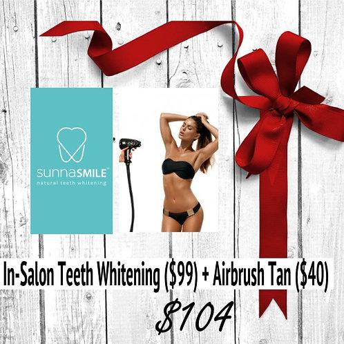 In-Salon Teeth Whitening + Custom Airbrush Sunless Session