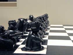 Row of Chess Pieces ceramic art