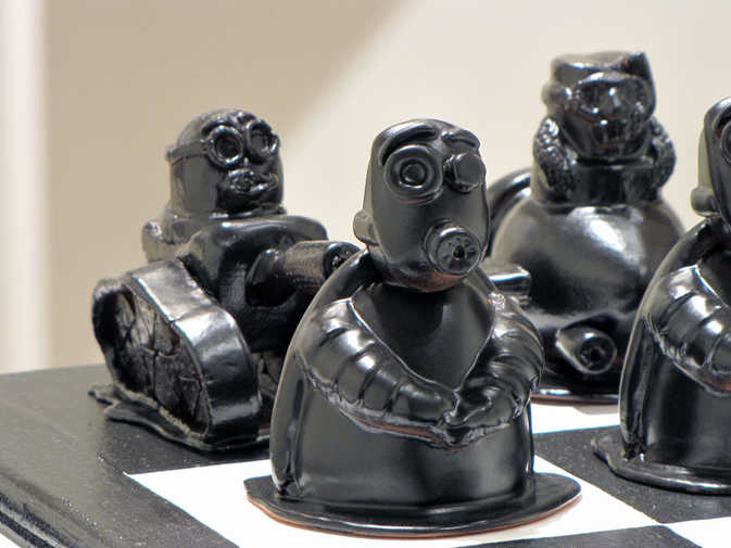 Rook and Pawn Chess Pieces ceramic art
