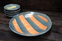 Porcelain Striped Platter ceramic art