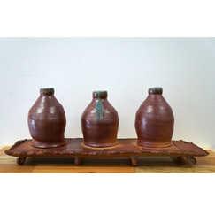 Sodafired Bottle Platter ceramic art