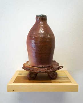 Woodfired Bottle on Pallet Pedestal ceramic art