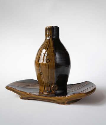 Porcelain Bottle and Platter ceramic art
