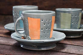 Porcelain Striped Cups and Saucers ceramic art