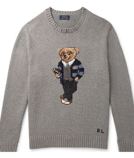 Polo Raplh Lauren Bear Intarsia Cotton Sweater