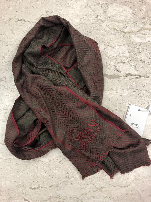 ARMANI: Echarpe en laine, rouge&taupe 52323b