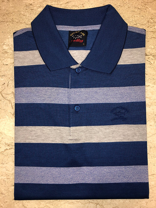 PAUL&SHARK: polo manches courtes, à rayures bleu, 11150c