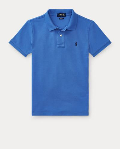 POLO RALPH LAUREN JUNIOR polo BLEU VIF en jersey