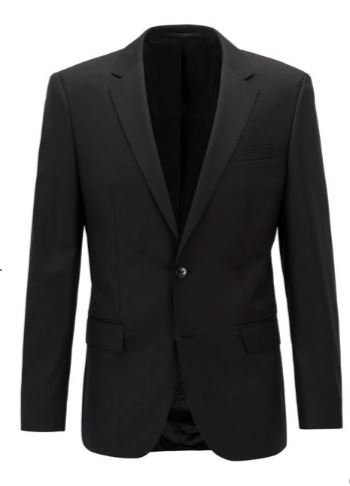 HUGO BOSS Costume Slim Fit en laine vierge NOIR
