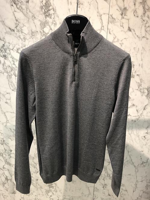 HUGO BOSS: Pull half-zip, pure laine merinos italienne, gris, 82R400B