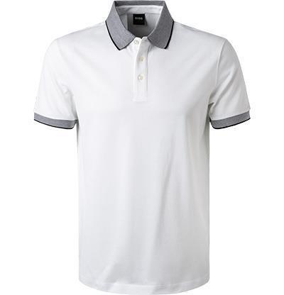 HUGO BOSS: Polo Regular Fit en coton, BLANC 11102D