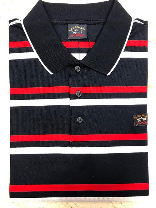PAUL&SHARK: polo manches courtes, marine à rayures blanc/rouge, 11151