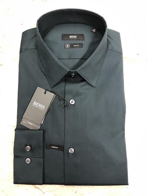 HUGO BOSS: chemise cotton, slim fit, travel, vert canard, 02220c