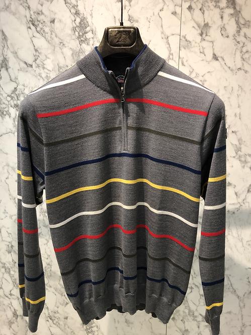PAUL&SHARK: Pull half-zip, rayé gris, pure laine 82311
