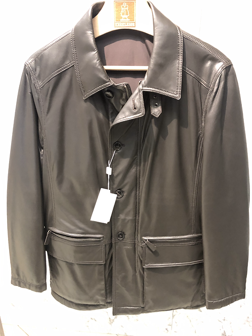 ARMANI: Veste en CUIR d'agneau, Made in Italy, marron 12172