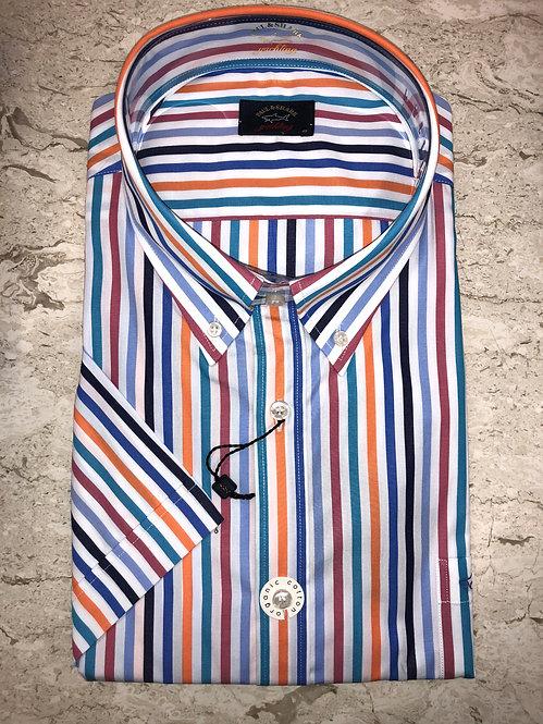 PAUL&SHARK: chemise manches courtes,avec rayure multi, 11148b