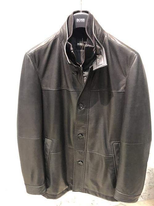 HUGO BOSS: veste en cuir, nappa d'agneau, noir, souple, 02