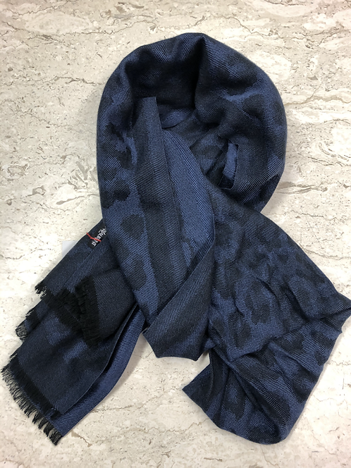YSL: Grande Echarpe en laine, Bleu 22442