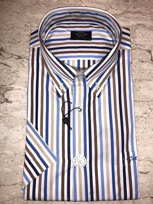 PAUL&SHARK: chemise manches courtes,avec rayure multi, 11148