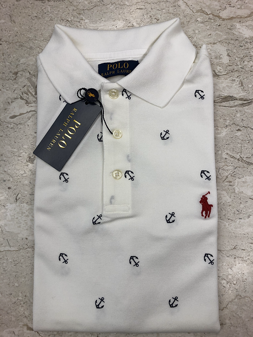 POLO RALPH LAUREN: POLO, cotton stretch, white ressort anchor,11128f