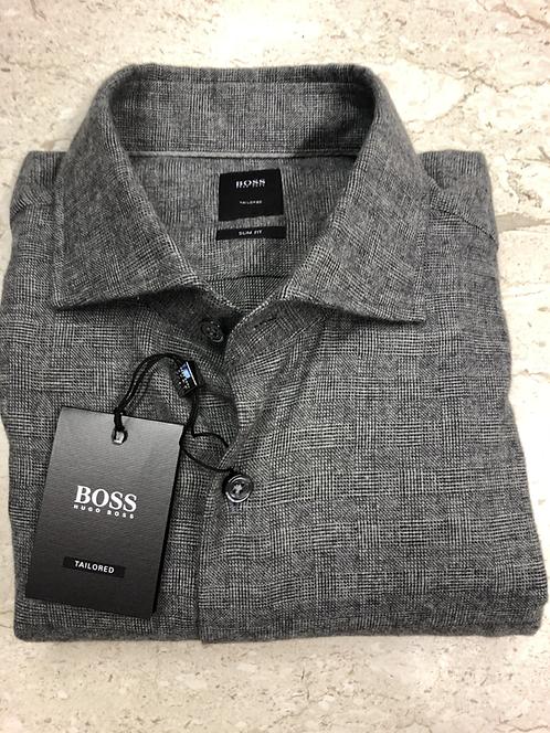 HUGO BOSS Tailored: chemise , cotton&cashemere, slim fit, gris,92205