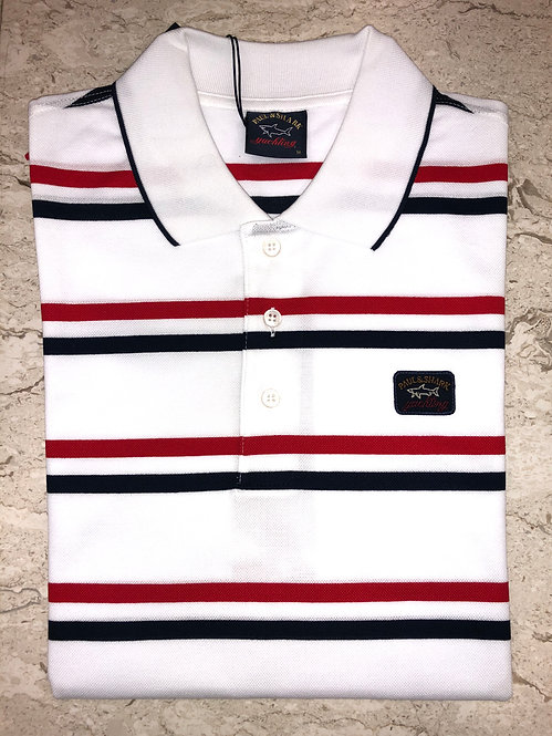 PAUL&SHARK: polo manches courtes, blanc à rayures bleu/rouge, 11151b